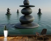 Zen Pebble Stacks wallpaper mural kitchen preview