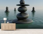 Zen Pebble Stacks wallpaper mural living room preview