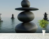 Zen Pebble Stacks wallpaper mural in-room view