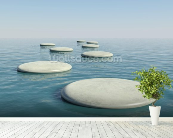 Zen Stepping Stones mural wallpaper room setting