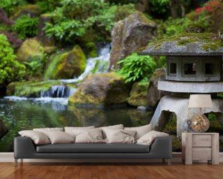 Japanese Garden Rock Lantern Mural Wallpaper