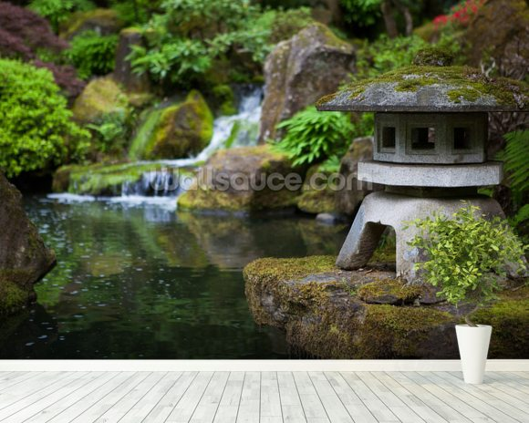 Japanese Garden Rock Lantern mural wallpaper room setting