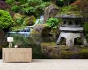 Japanese Garden Rock Lantern mural wallpaper living room preview