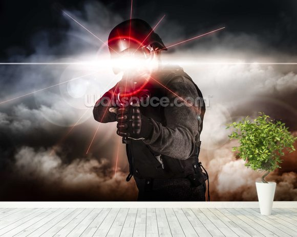 Soldier aiming assault rifle laser sight wall mural room setting