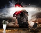 Soldier aiming assault rifle laser sight wall mural kitchen preview