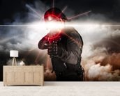 Soldier aiming assault rifle laser sight wall mural living room preview