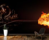 Future Soldier with flamethrower wallpaper mural kitchen preview