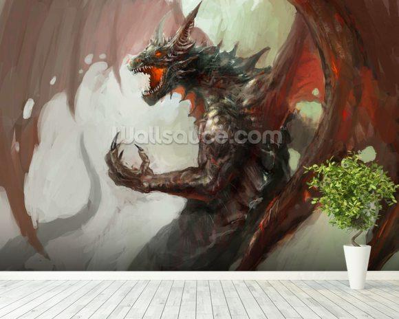 Dragon rage wallpaper wall mural wallsauce australia for Dragon mural wallpaper