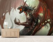 Dragon rage wallpaper mural living room preview