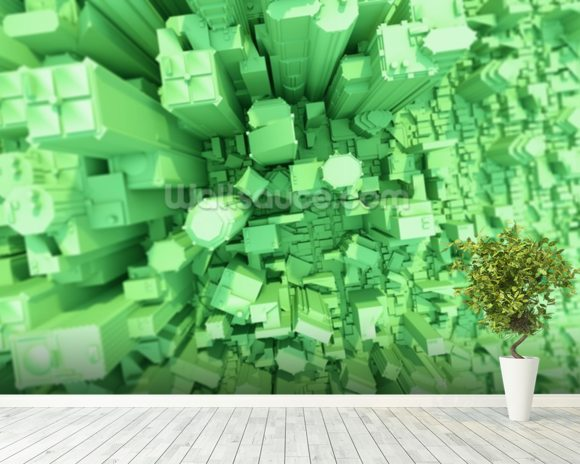 Green City Concept 3D wall mural room setting