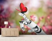 Robot hand and butterfly wallpaper mural living room preview
