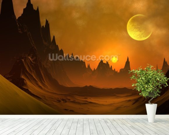 Fantasy Alien Planet mural wallpaper room setting