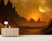 Fantasy Alien Planet mural wallpaper living room preview