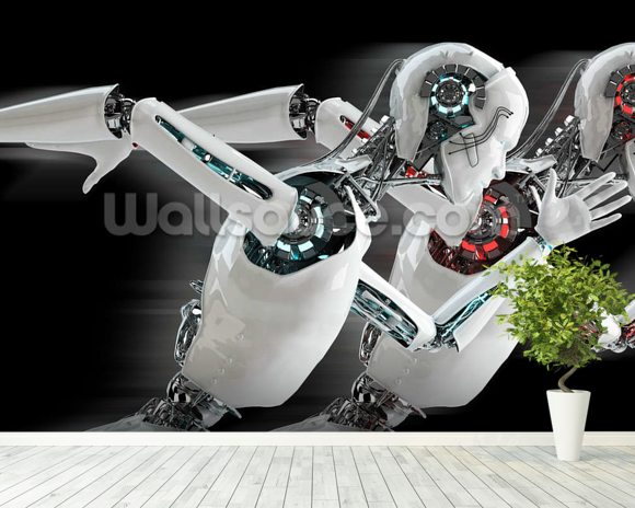 Robot android men race mural wallpaper room setting