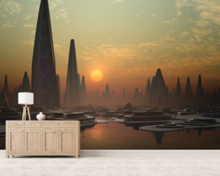 Futuristic Alien City mural wallpaper