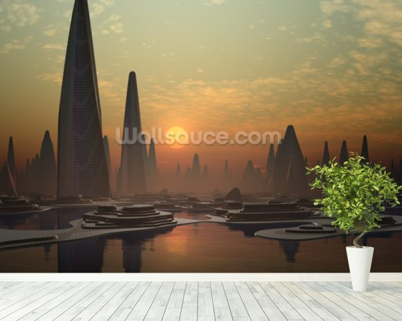 Futuristic Alien City mural wallpaper room setting