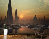 Futuristic Alien City mural wallpaper kitchen preview