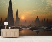 Futuristic Alien City mural wallpaper living room preview