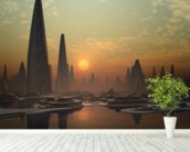 Futuristic Alien City mural wallpaper in-room view