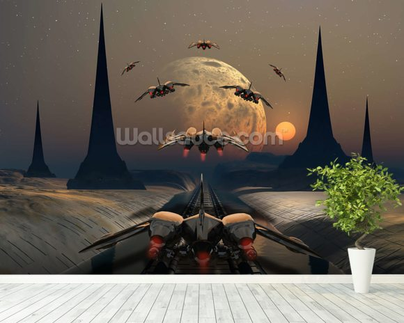 Alien Planet and Space Ships wall mural room setting