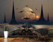 Alien Planet and Space Ships wall mural kitchen preview