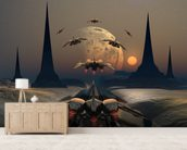Alien Planet and Space Ships wall mural living room preview