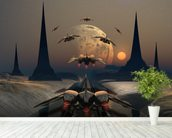 Alien Planet and Space Ships wall mural in-room view