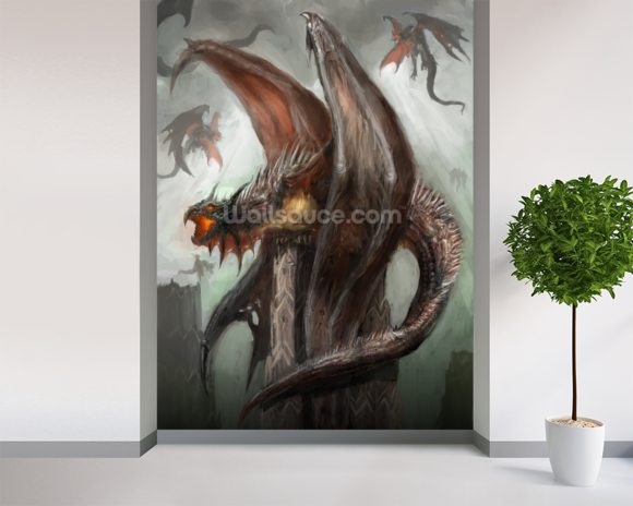 Dragons wallpaper wall mural wallsauce canada for Dragon wall mural