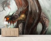Dragons mural wallpaper living room preview