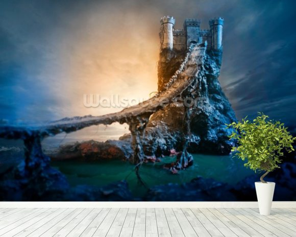 Mysterious Castle and Bridge wall mural room setting