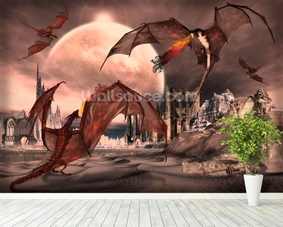 Fantasy scene with fighting dragons wallpaper wall mural for Dragon mural wallpaper