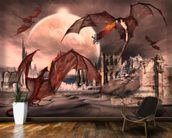 Fantasy Scene With Fighting Dragons wallpaper mural kitchen preview