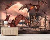 Fantasy Scene With Fighting Dragons wallpaper mural living room preview