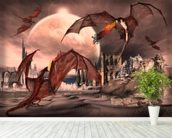 Fantasy Scene With Fighting Dragons wallpaper mural in-room view