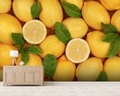 Zesty Lemons wallpaper mural living room preview