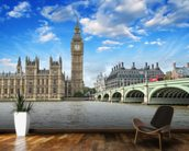 Westminster Bridge and Houses of Parliament mural wallpaper kitchen preview
