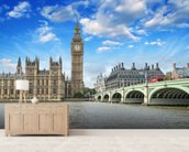 Westminster Bridge and Houses of Parliament mural wallpaper living room preview