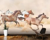Horses herd running in the sand storm wallpaper mural kitchen preview