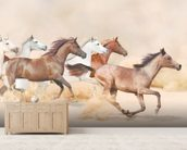 Horses herd running in the sand storm wallpaper mural living room preview