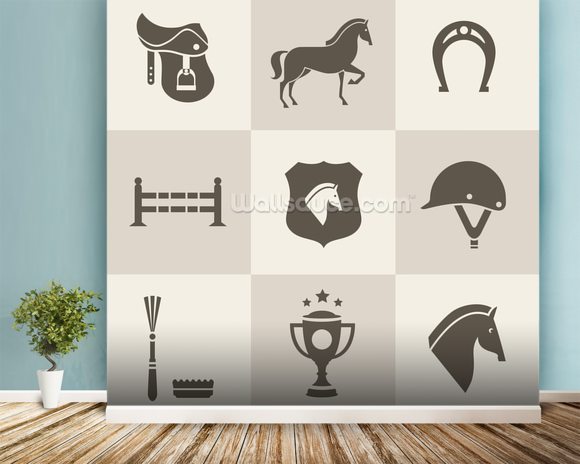 Horse Riding mural wallpaper room setting