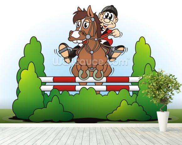 Show jumping cartoon wallpaper wall mural wallsauce for Cartoon mural wallpaper