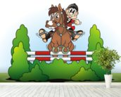 Show Jumping Cartoon wall mural in-room view