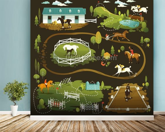 Equestrian world wallpaper wall mural wallsauce for Equestrian wall mural