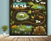 Equestrian World wall mural in-room view
