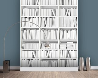 White Bookcase Wall Mural