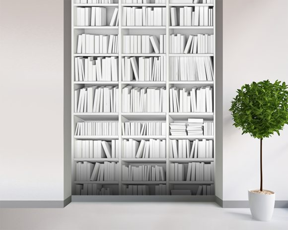 White bookcase wall mural white bookcase wallpaper for Bookshelf mural wallpaper