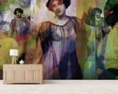 I Heard Love is Blind Grey Rose mural wallpaper living room preview