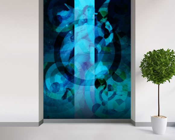 Avientame - Blue wall mural room setting