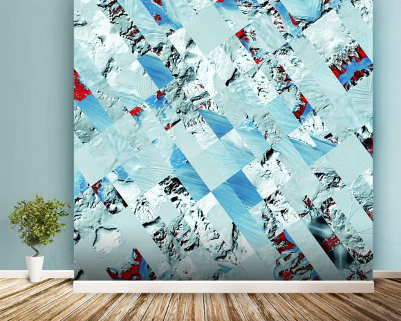 Glacier wall mural room setting