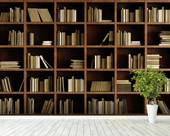 Natural bookcase wall mural natural bookcase wallpaper for Bookshelf mural wallpaper